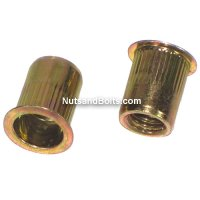 #8 - 32 Yellow/Zinc Steel Ribbed Rivet Nuts Qty (1)