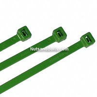 "Nylon Cable Ties - Green - 7"" Qty(100)"
