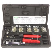 Steel Ribbed Rivet Nut Kit with Rivet Setting Tool (Gun) - 50 Pieces