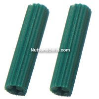 #10 - 12 Plastic Plug Wall Anchors (Green) Qty (100)