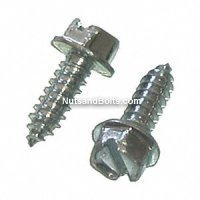 "#14 x 3/4"" Slotted Hex Washer Head License Plate Screw Qty (50)"