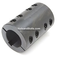 1-1/2 Double Split Shaft Coupling Black Oxide With Keyway Qty (1)