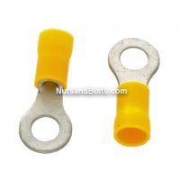 "12-10 Ring 1/4"" Electrical Terminal Yellow Vinyl Qty (50)"