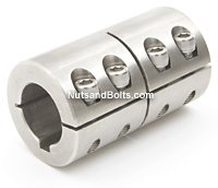 1 3/8 x 1 3/8 Stainless Steel Single Shaft Coupling With Keyway Qty(1)