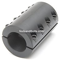 5/8-5/8 Double Split Shaft Coupling Black Oxide No Keyway Qty (1)