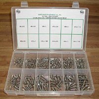 Stainless Phillips Oval Tapping Screw Assortment - 210 Pieces