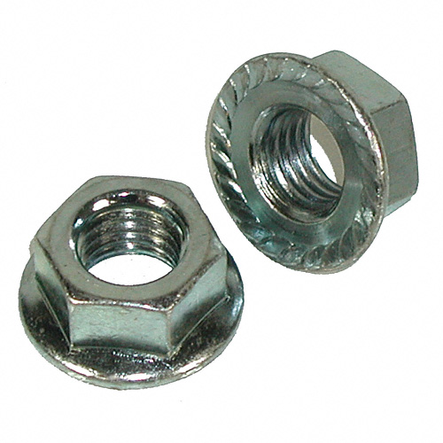 5/16 - 18 Grade 2 Zinc Serrated Flange Hex Lock Nuts Qty (100) - Click Image to Close