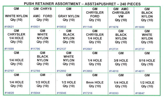 Push Retainer Assortment