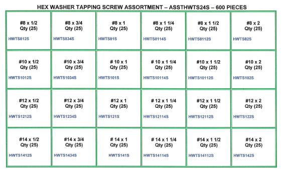 Hex Washer Tapping Screw Assortment
