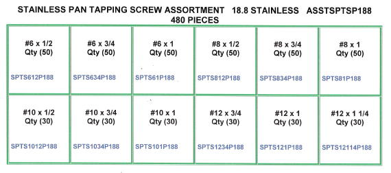 Stainless Steel Pan Tapping Screw Assortment