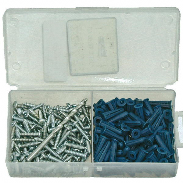 plastic wall anchor kit screw size